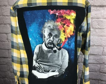 Albert Einstein Recycled Upcycled T Shirt Flannel Shirt Size large
