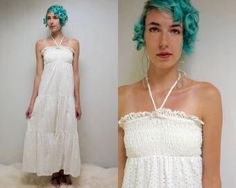 Young Edwardian Dress  //  Smocked SunDress  //  70s White Eyelet Dress  //   THE CAULIFLOWER