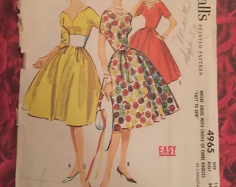 50's Vintage Dress Sewing Pattern