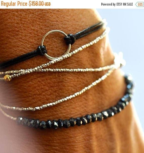 SALE Silver beads bracelet - wrap bracelet - delicate bracelet