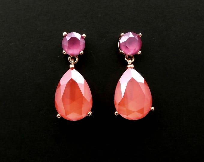 bridal jewelry bridesmaid prom party gift wedding swarovski crystal rhinestone peony pink round post teardrop light coral rose gold earrings