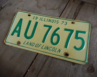 Vintage License Plate 1973 Illinois Rustic Old Metal Sign Wall Hanging, Cafe, Bar, Saloon, Coffee Shop Home Decor AMarigoldLife