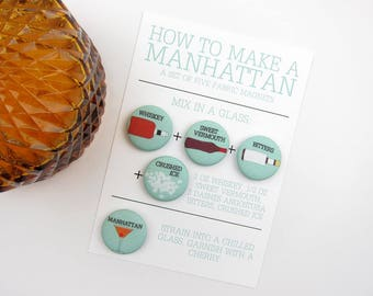 How to Make a Manhattan Cocktail Recipe Magnet Set by Megan McCrary