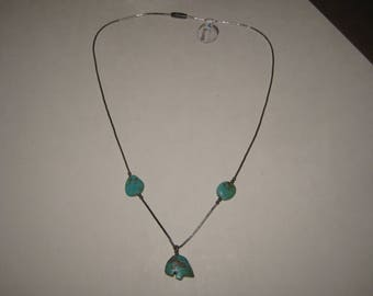 Native American Turquoise Sterling necklace Bear 1970s