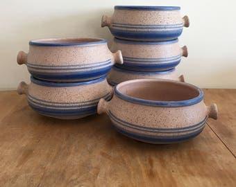 vintage wheel thrown pottery soup bowls set of 6