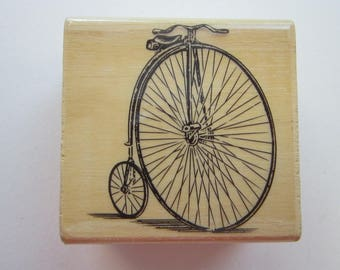 rubber stamp - high wheel bike - antique bicycle - used rubber stamp