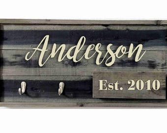 Personalized key rack made from Faux barn wood with mail holder key holder, Custom  key