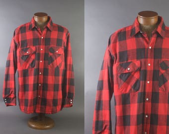 Vintage Five Brothers Heavy Weight Insulated Red & Black Plaid Shirt / Large Made in USA