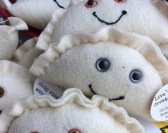 FLASH SALE Felt Kawaii Pierogi Plush Toy/Ornament/Decoration (your choice of eye color)