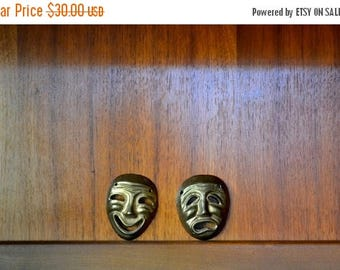 SALE 25% OFF vintage india brass comedy and tragedy masks