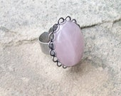Rose Quartz and Silver Lace, Adjustable Ring, Antiqued Silver ring, pink gemstone ring, love ring, boho hippie jewelry