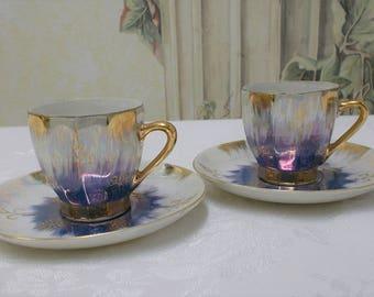 Demitasse Blue Lustreware Set of 2, Iridescent Blue and White Gold Gilt Demitasse, Cobalt Blue Lustreware Demitasse Made In Japan Set of 2