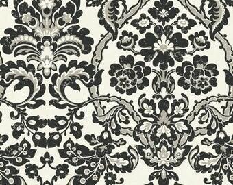 TH6368 Black Cream Damask with Thread Wallpaper