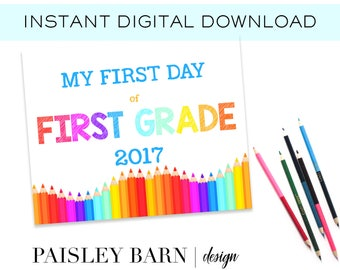 First Day of First Grade Print INSTANT DOWNLOAD |  digital download, custom, printable, 1st day of, preschool, school signs pink