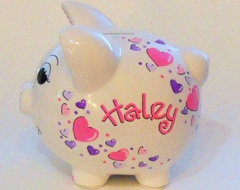 Piggy Bank Pink and Purple Hearts Personalized