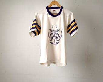 NEW MEXICO vintage ringer jersey style 80s TWO guns highlands university cowboys t-shirt top size large