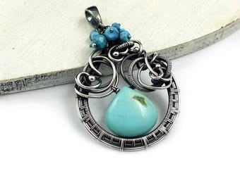 Turquoise pendant, wire wrapped jewelry, blue pendant, sterling silver jewelry
