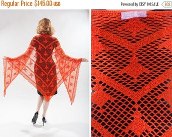 HALF PRICE SALE Vintage 1970s Orange Crocheted Shawl - Handmade Recollections - Boho Fashions