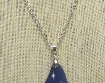 "19"" Silver Plated Chain w/Royal Blue Sea Glass Pendant #20582 sea glass necklace"