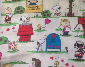 Snoopy Peanuts Valentines Day Fabric Charlie Brown