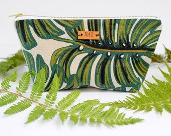Tropical Makeup Pouch, Monogram Cosmetic Bag, Rifle Paper Co Zipper Pouch, Botanical Zipper Pouch, Personalized Clutch, Monstera Zipper Bag
