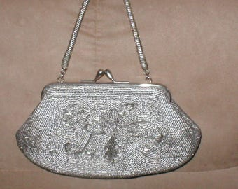 Vintage Pewter Beaded Evening Purse