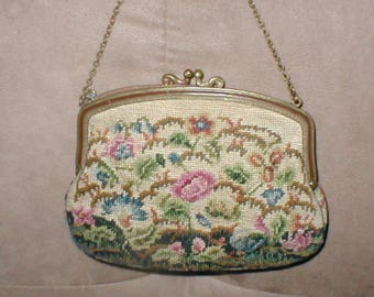 Antique 1930's Needlepoint Petit-Point Tapestry Evening Purse