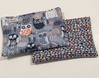 Reusable Snack Bag Set of Two Eco Friendly Owl Snack Bags