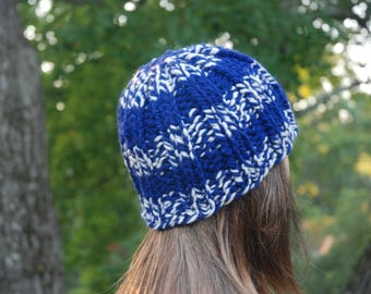 Royal Blue and White Hat, Blue Hat, Blue Slouch Hat, Royal Blue and White Knit Hat, Hand Knit Hat, Blue Knit Hat, Blue Pom Pom Hat
