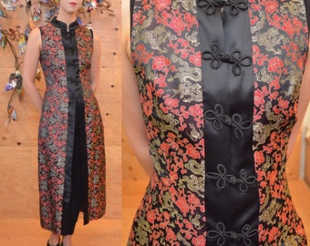 vintage 90's asian dragon print duster shirt dress xs s asian damask brocade asian print floral gold metallic
