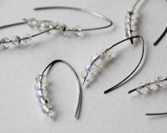 Moonstone -  sterling silver open hoop earrings