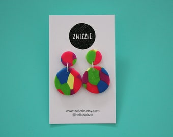 Polymer clay earrings - sunshine yellow, hot pink, blue, purple and green apple