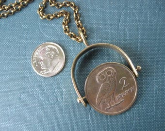 Greece Greek Owl and Phoenix 2 Drachmas Coin Spinning Pendant in Brass Frame. One of a Kind. Ready to Ship.