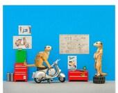 FALL SALE Vespa scooter animal art print: Toodle Pip