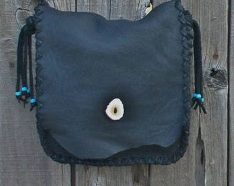 ON SALE A simple black shoulder bag for everyday , Handmade black purse , Black handbag