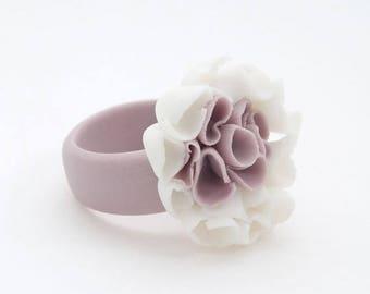 SALE Floral  Ring , Flower Porcelain Ring Pastel Purple White ,Statement Flower Cocktail Ring , Custom Size, Bridesmaid Unique Gift - Aragon