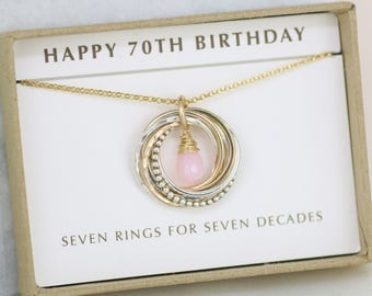 70th birthday gift for mother, pink opal necklace, October birthstone necklace for 70th gift for grandma - Lilia