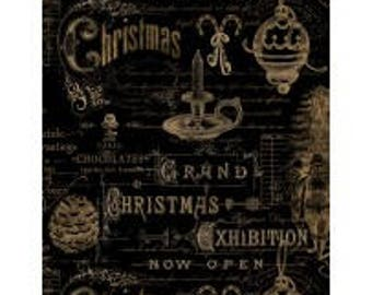 Christmas in the Wildwood from Wilmington Prints - Full or Half Yard Christmas Ephemera and Words - Black Gold Christmas