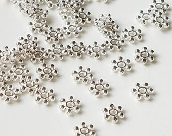 Silver Daisy Spacer - Flower Spacer Beads - 6 Petal Spacer -  Snowflake Bead Cap - 6 mm - 34g.  200 PCS - Diy Bulk Jewelry Findings Supplies