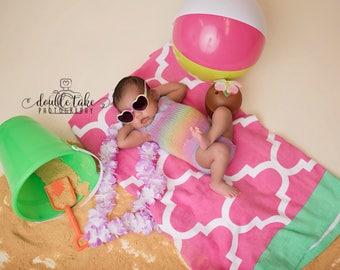 Pastel Newborn Knit Romper - Knit Pastel Unicorn Romper - Pastel Rainbow Baby Photography Prop - Pastel Newborn Photo Prop