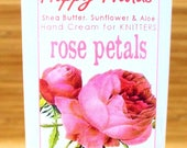 Hand Cream for Knitters Scented Shea Butter Hand Lotion - Rose Petals Floral Garden Fragrance - Happy Hands Knitting