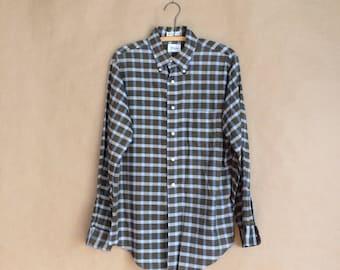 WEEKEND SALE! vintage 1960's 60's mens shirt / plaid / all cotton / button down collar / Nelson Paige / Holden Caulfield / mod prep
