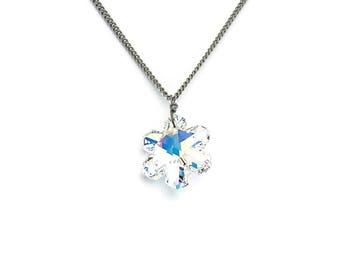 Snowflake Crystal Titanium Necklace, Clear Crystal Aurora Borealis Swarovski Snowflake on a Pure Titanium Necklace For Sensitive Skin