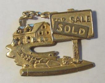 House Sold Realty Magnet - OOAK Magnet - Vintage Brooch Magnet