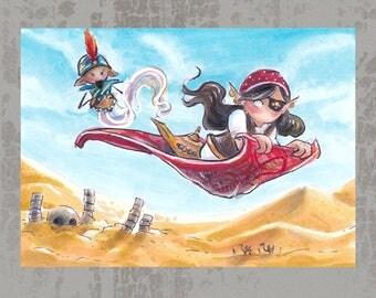 Flying Carpet - Original ACEO, marker illustration
