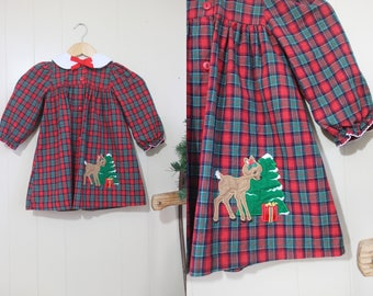 Girls Christmas Dress Vintage Plaid Bow Tie Neck Red Reindeer Photo Prop 4T