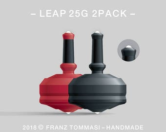 LEAP 25G 2PACK Red-Black – Value-priced set of precision handmade polymer spin tops with dual ceramic tip and rubber grip
