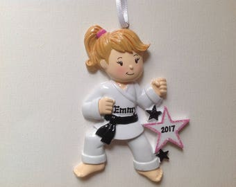 Personalized  Christmas Ornament Girl Karate, Kung-Fu, Tae Kwon Do, Judo Kids, Coach, Trainer Gift/ Gift Tag