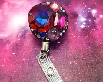 Heavy Duty Steel Cord Bling Crystal Badge Reel Id Holder Nurse RN CN Technician Bling Medical MD Glam Gemstone Gems