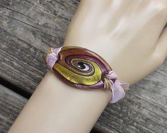 Art Glass Pink Gold Black Swirls Glass and Ribbon Bracelet, Fashion Jewelry